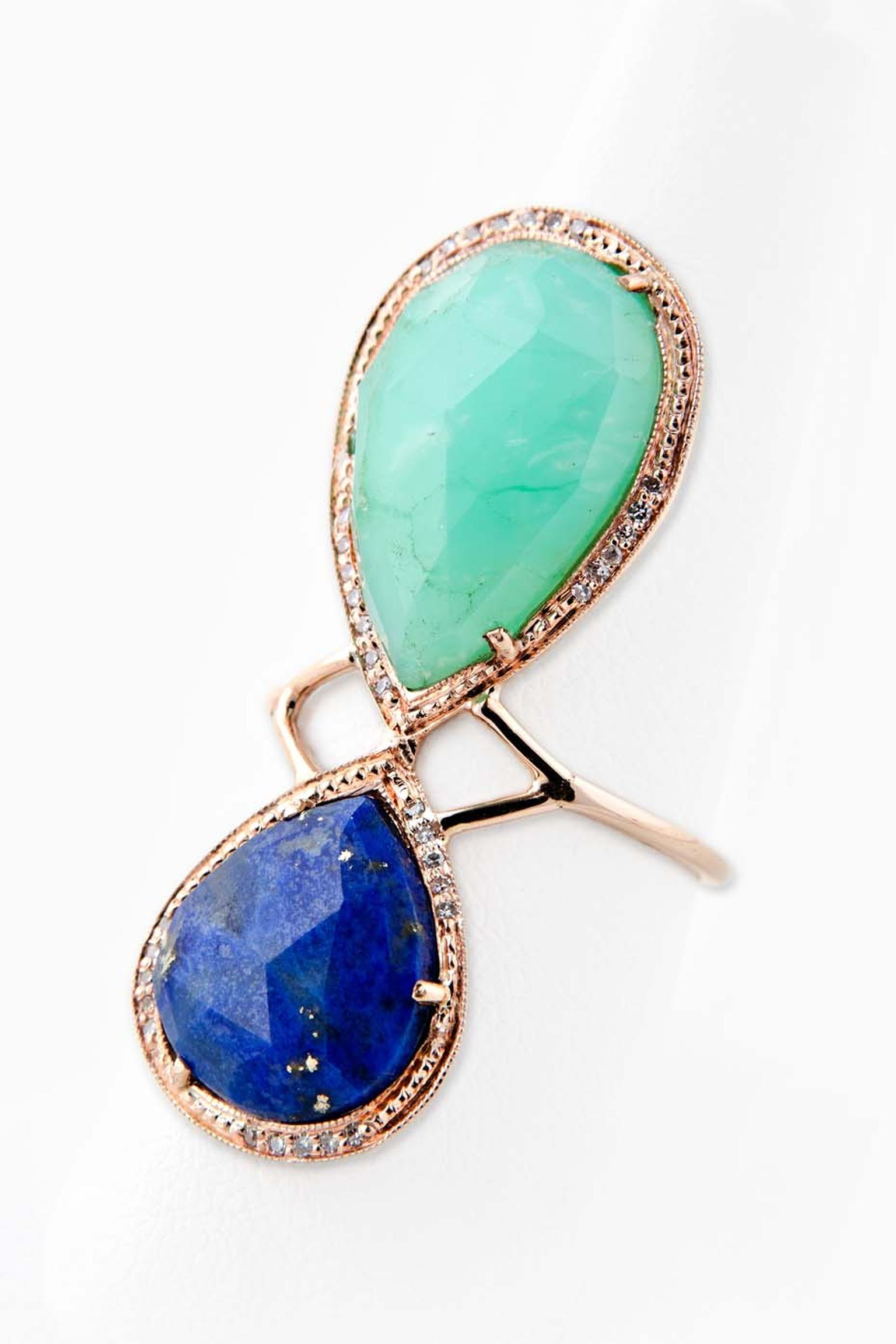Jacquie Aiche Teardrop ring with pavé diamondsm chrysoprase and lapis lazuli.