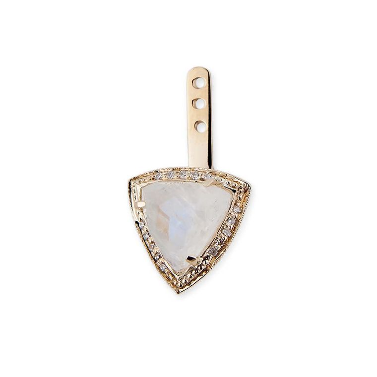 Jacquie Aiche rose gold Pyramid Triangle ear jacket with pavé diamonds and moonstone.