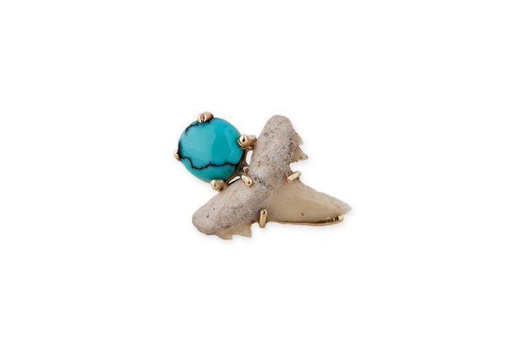 Jacquie Aiche natural shark tooth and round turquoise stud, set in yellow gold.
