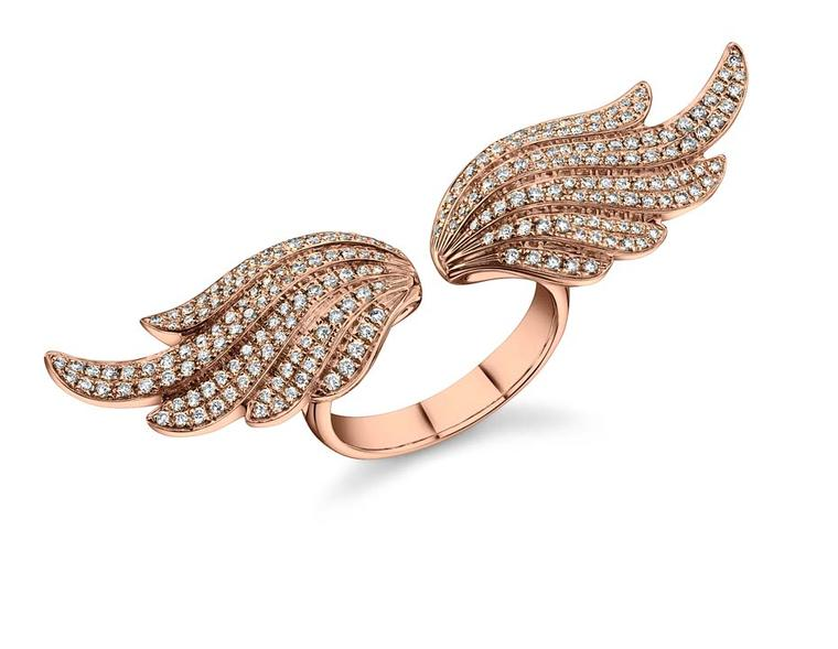 Anita Ko Double Wing ring in rose gold with diamonds.