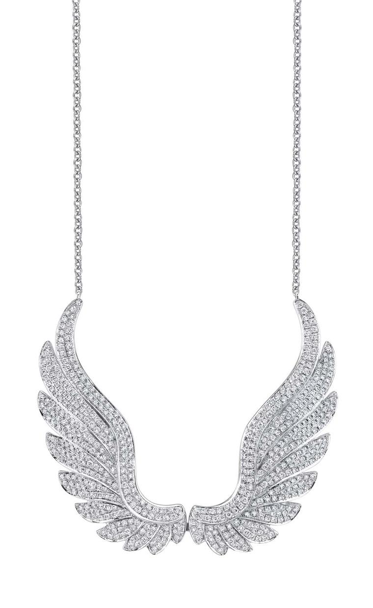 Anita Ko Wing necklace in white gold with diamonds.