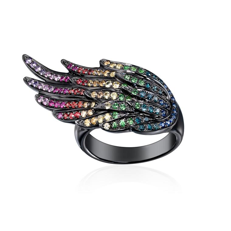 AS29 by Audrey Savransky black rhodium plated pinky Wing ring set with multi-coloured sapphires.