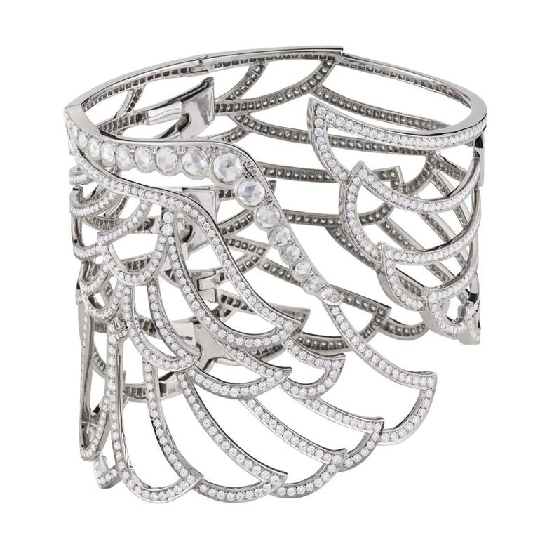 Garrard Wings 10th Anniversary collection white gold cuff with rose and brilliant-cut diamonds.