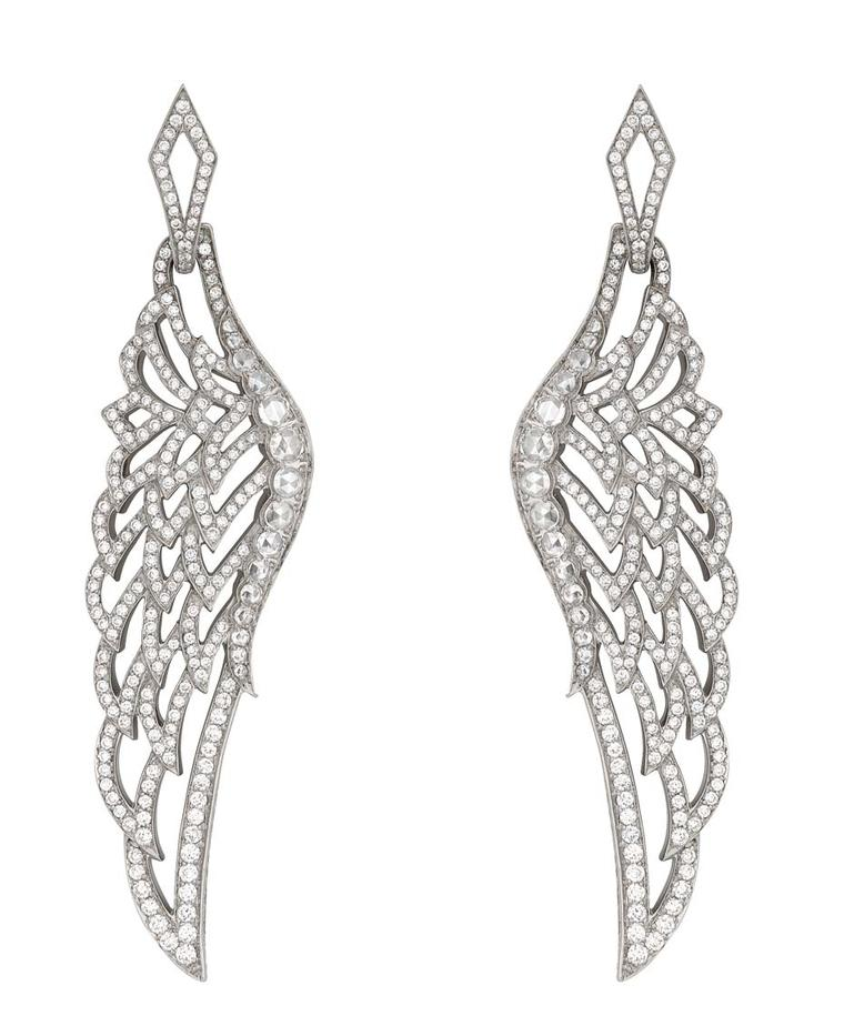 Garrard Wings 10th Anniversary collection white gold and diamond earrings.