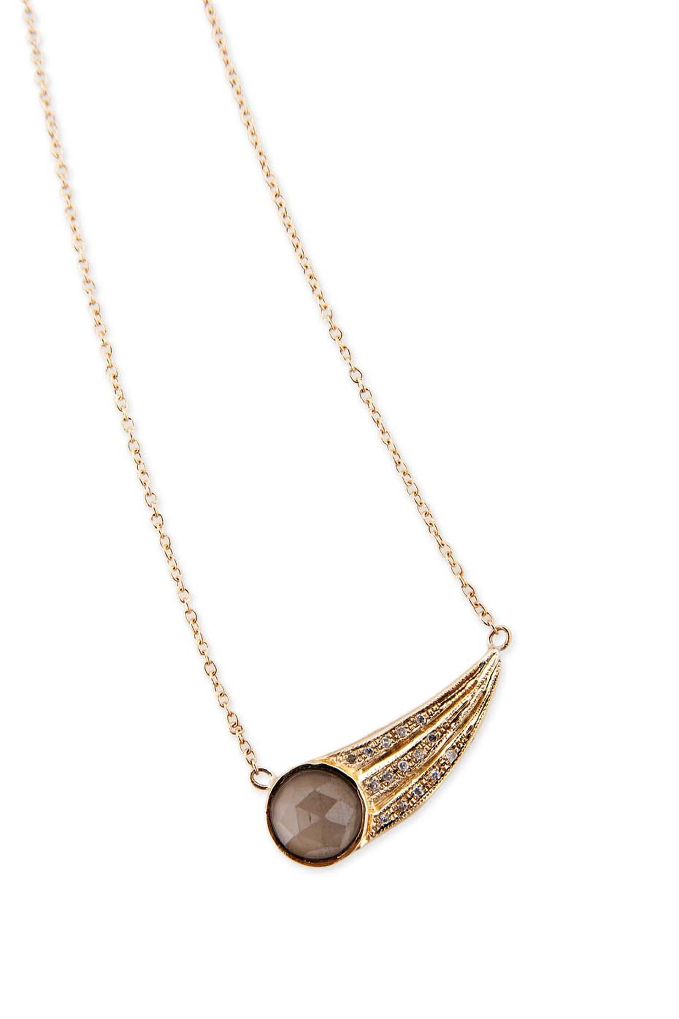 Jacquie Aiche yellow gold Rounded Wing necklace with pavé diamonds and labradorite.