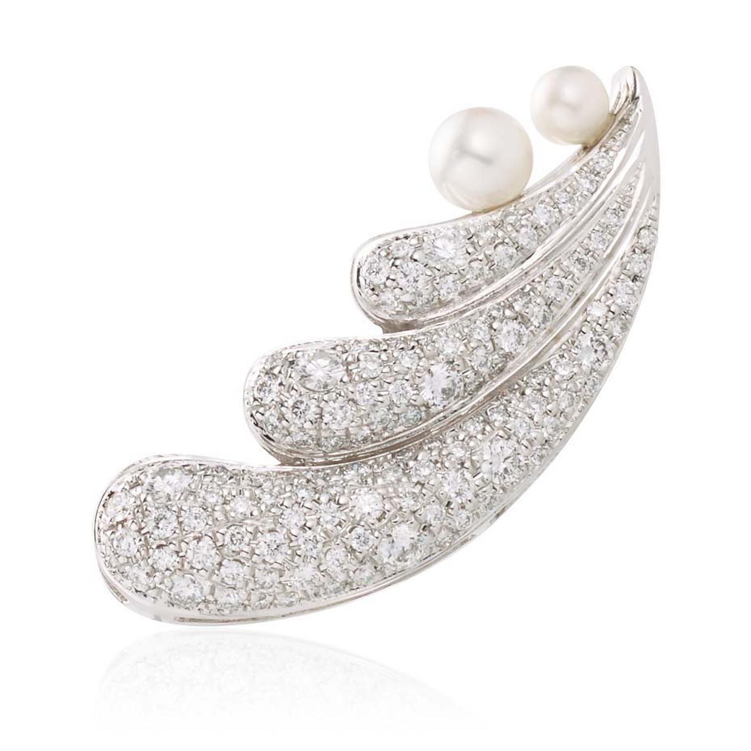 Nicholas Liu Cosmos earrings with diamonds and pearls.