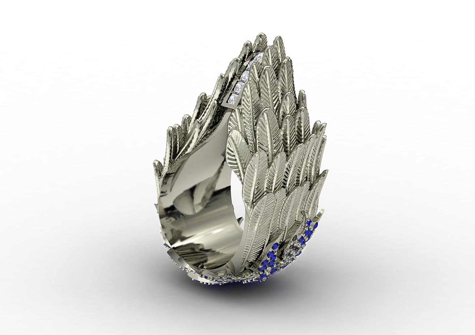 Jasmine Alexander Ascent Victorious white gold ring with sapphires and diamonds.