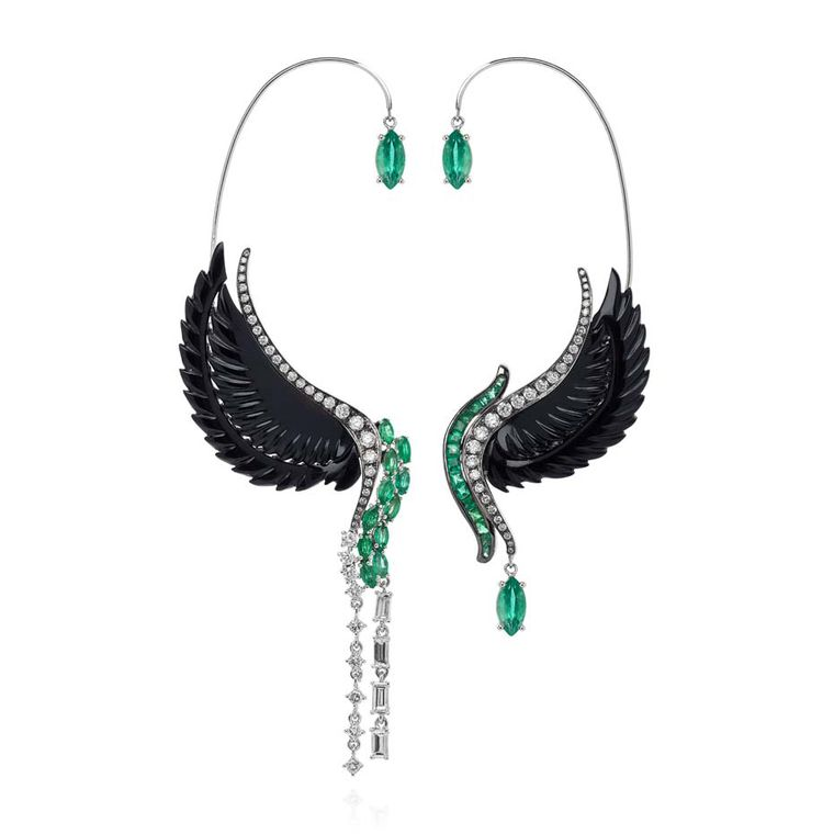 Leyla Abdollahi Lust & Lure collection ear cuffs in white gold with diamonds, emeralds and onyx.