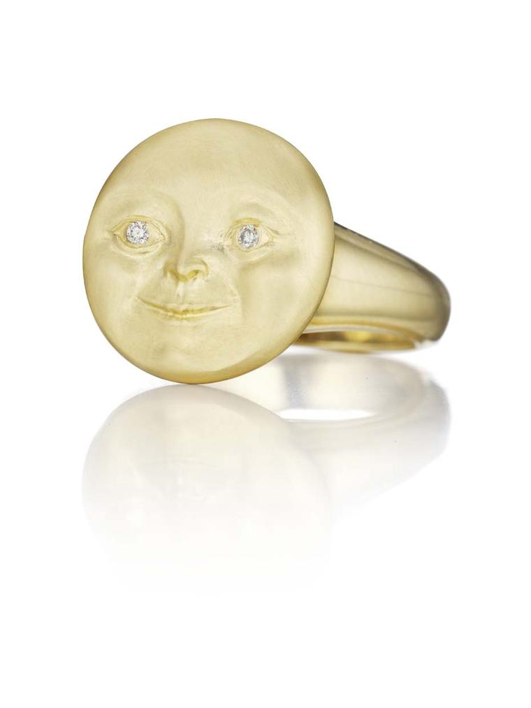 "Anthony Lent's Moon Face diamond ring is described by Tony as that ""of the collective unconscious"", an image with which we are all familiar and which is based on Victorian children's book illustrations."