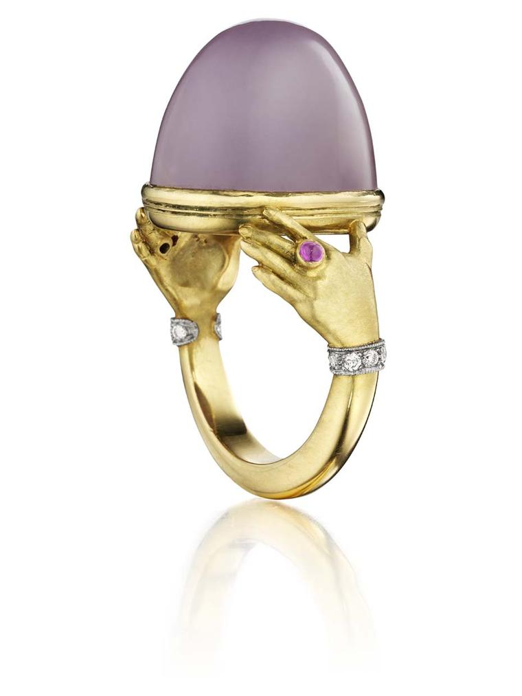 Anthony Lent Anatomy collection Adorned Hands ring featuring lavender chalcedony, diamond and cabochon ruby, set in gold.