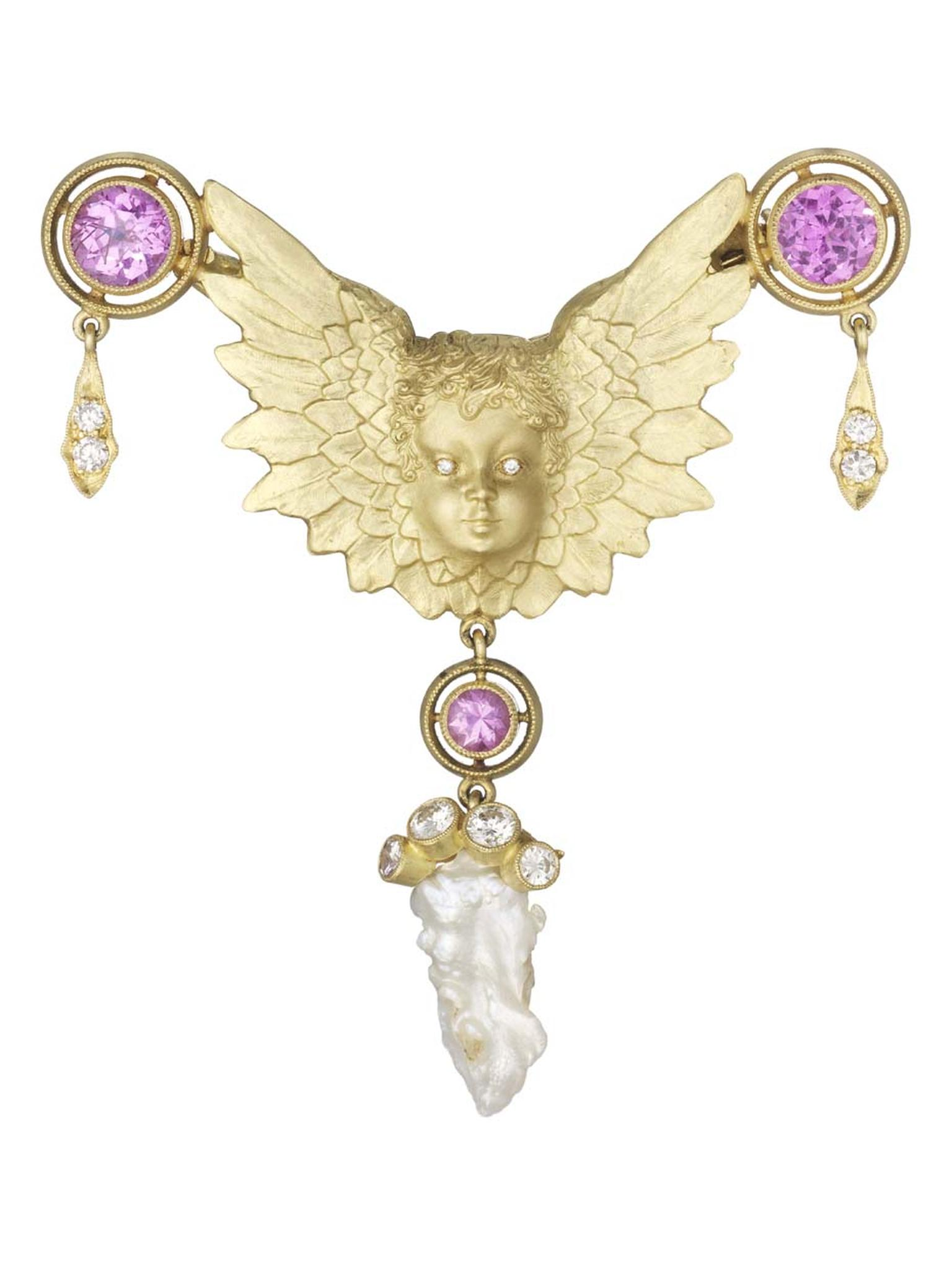 Anthony Lent's diamond-eyed Putti brooch, adorned with flying diamonds, natural pearls and pink sapphires set in gold, is a signature piece.