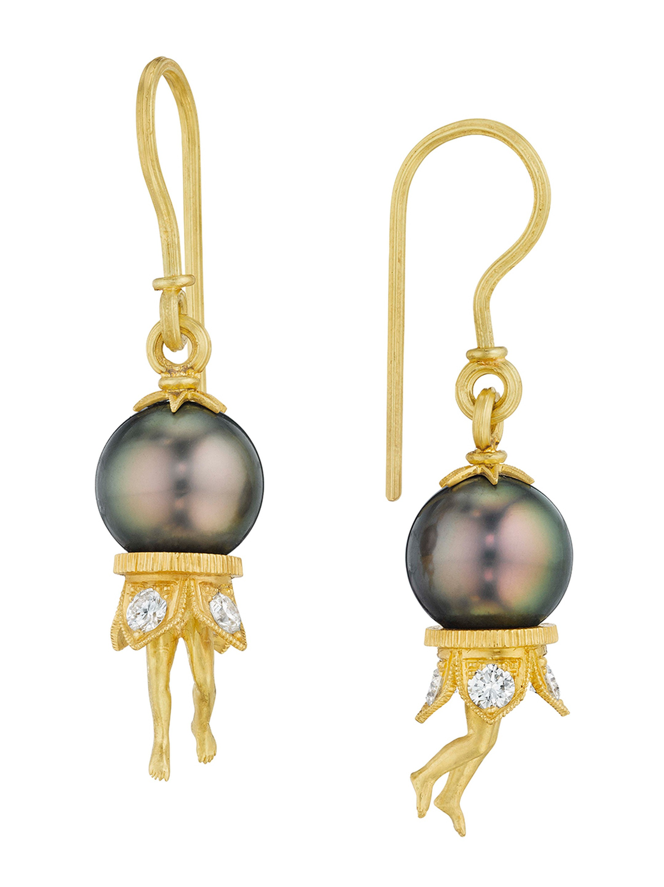 Anthony Lent Tahitian pearl Bosch earrings in gold with diamonds.