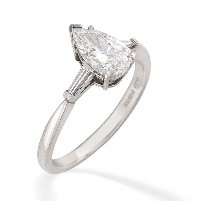 Bentley & Skinner's pear-cut diamond ring is complimented by the detail of tapered baguette-cut shoulders (£16,750.00).