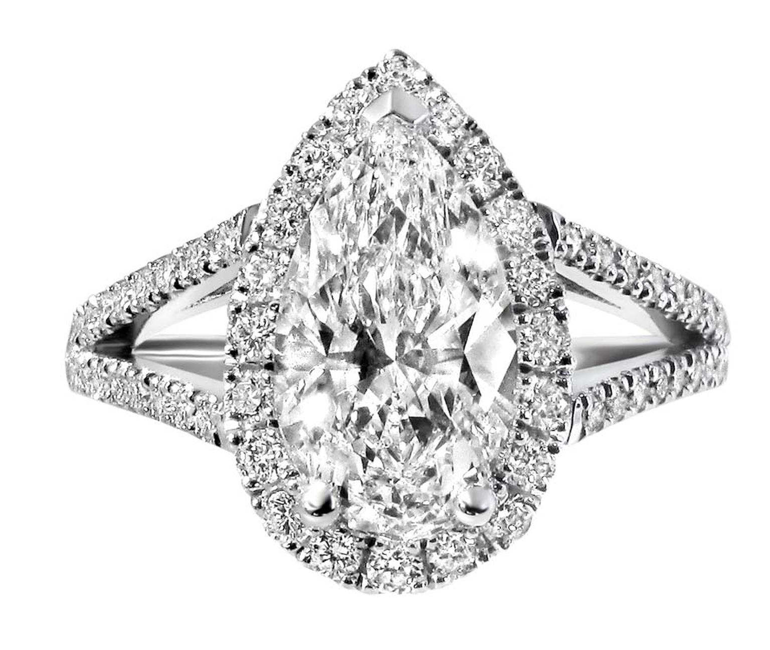 Ingle & Rhode's engagement ring features a central pear-cut Canadian diamond, surrounded by a halo of pavé diamonds.