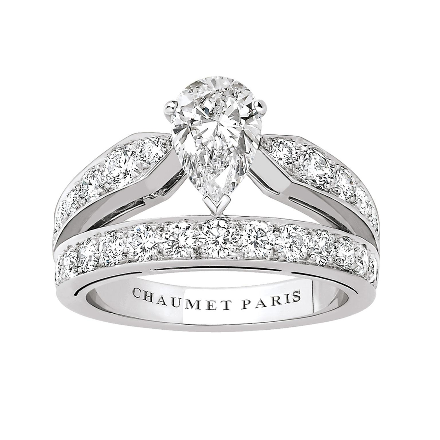 Chaumet's Joséphine collection engagement ring features an engagement ring in the shape of a tiara, fully pavéd with brilliant-cut diamonds with a pear-shaped diamond at its centre.