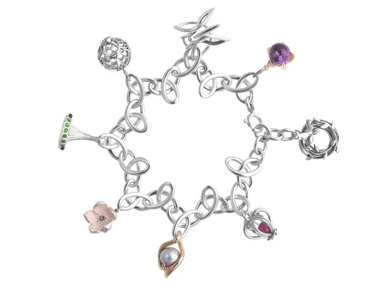 Eight charms by leading British jewellers united on one bracelet in aid of Breast Cancer Care