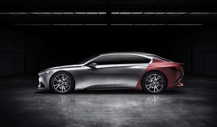 Each concept car, including the pictured Peugeot Exalt, will be paired with a fashion designer, who has created an outfit that will be modelled alongside the automobile during the parade.