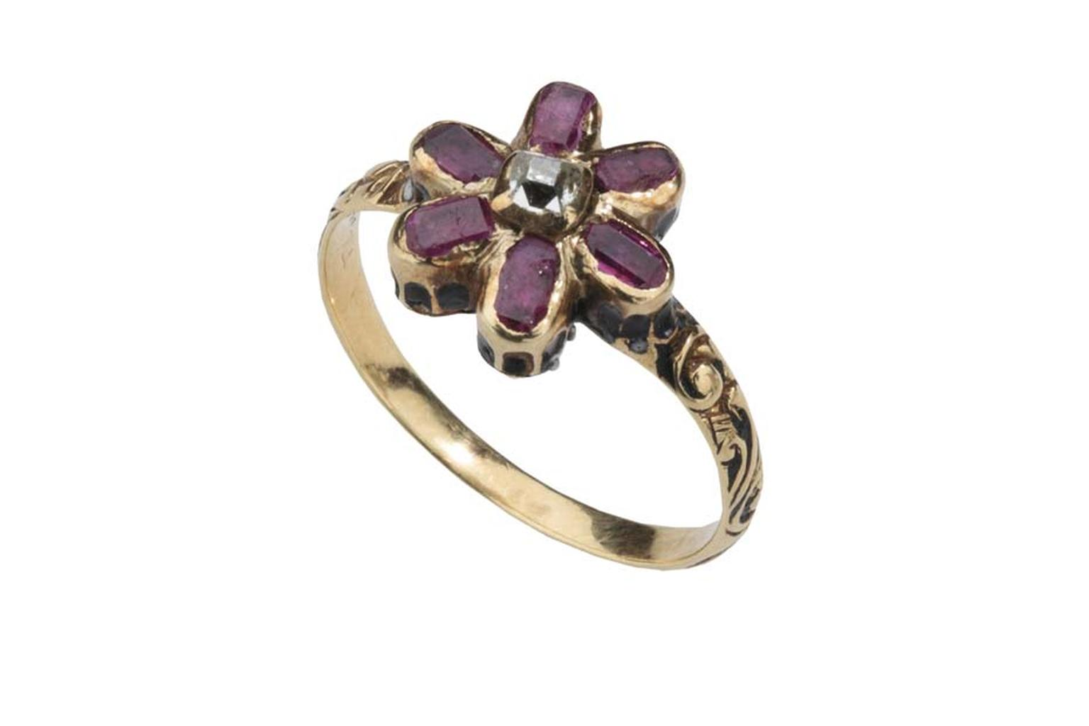 Les Enluminures ruby and enamelled gold ring.