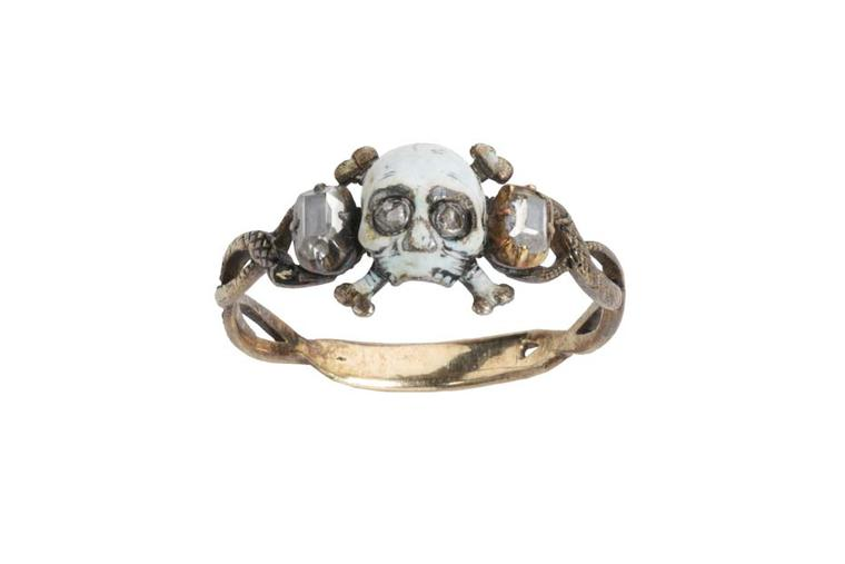 Les Enluminures Memento Mori ring with enamel sand diamonds.