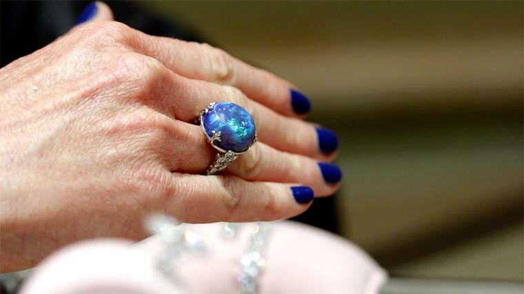 David Morris fiery blue opal and diamond ring.