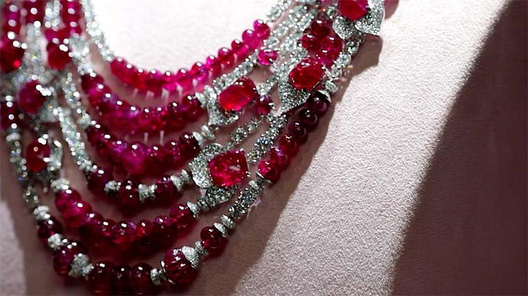 David Morris pigeon blood ruby and diamond necklace.