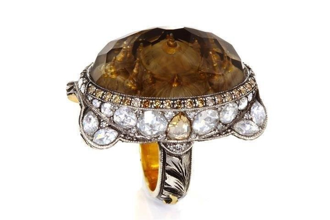 Sevan Biçakçi one-of-a-kind gold and sterling silver ring featuring an inversely carved smokey topaz centre stone depicting Turkish architecture widely found in Istanbul (the Hagia Sophia) surrounded by diamonds.