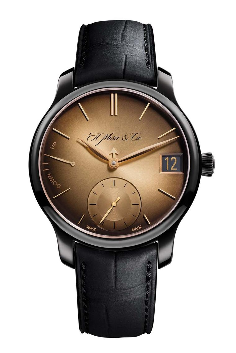 H. Moser & Cie features all the functions of a complicated perpetual calendar with a discreet short arrow anchored between the hour and minute hands acting as a month indicator.