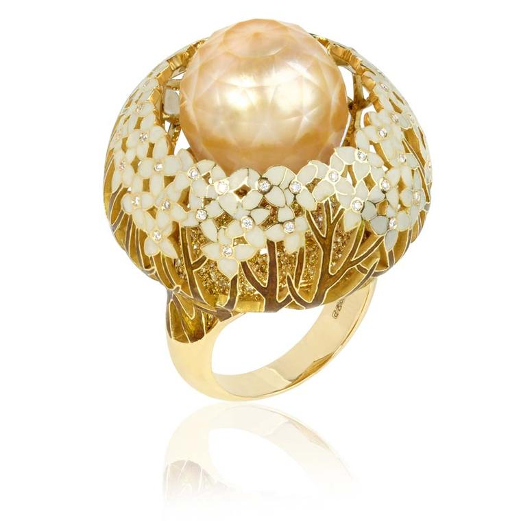 Ilgiz for Annoushka Hortensia gold ring featuring enamelled flowers with yellow and white diamonds surrounding a faceted pearl (£28,500).