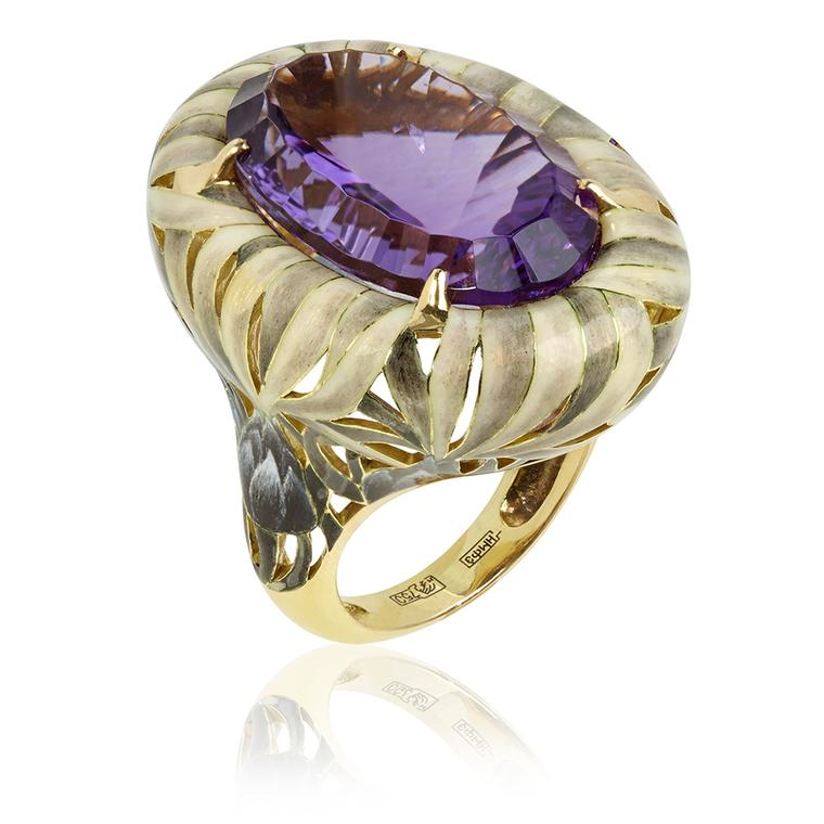 Ilgiz for Annoushka Burdock ring in yellow gold featuring a 19.25ct amethyst nestled amongst enamel thistle branches (£15,400).