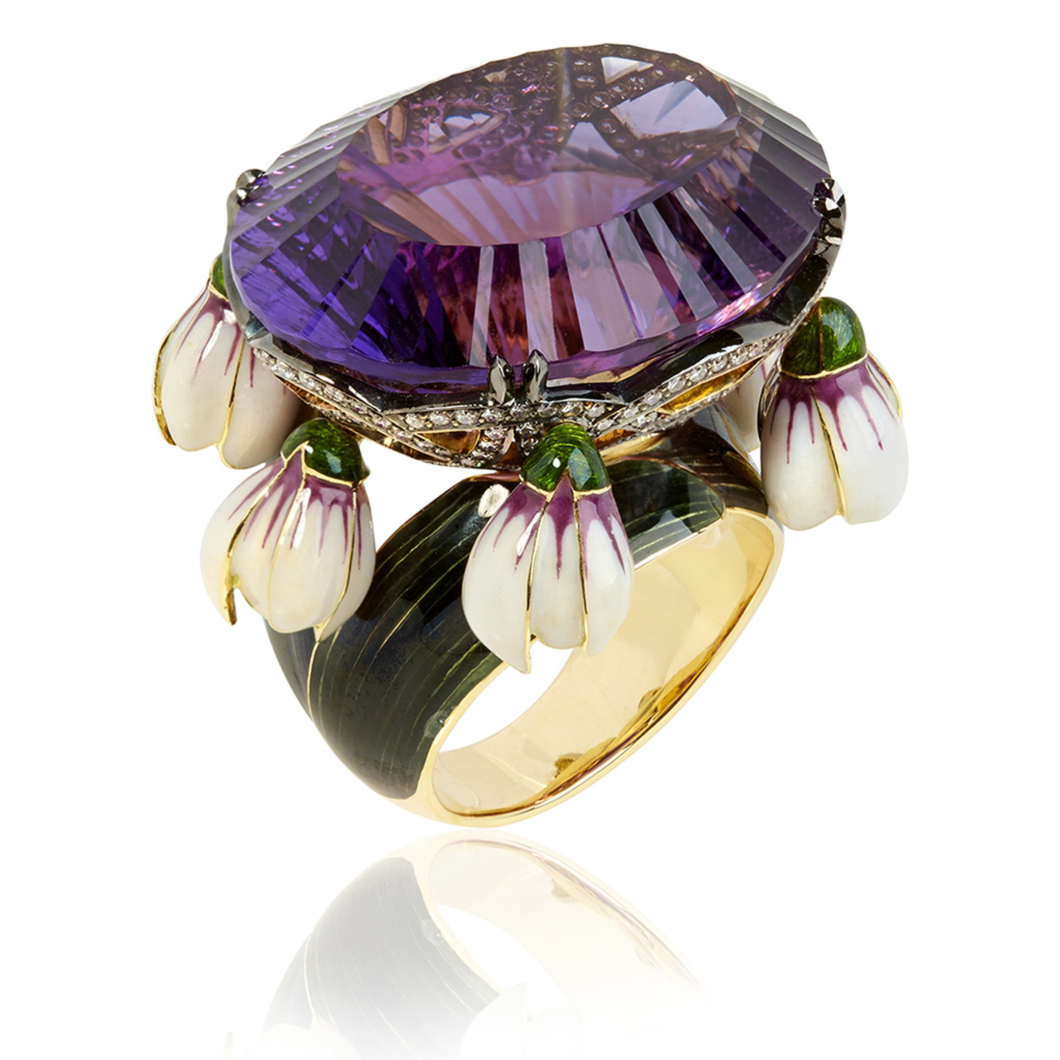 llgiz for Annoushka Crocus ring in yellow gold featuring a 47.93ct amethyst surrounded by diamonds and dangling enamel petals (£42,000).