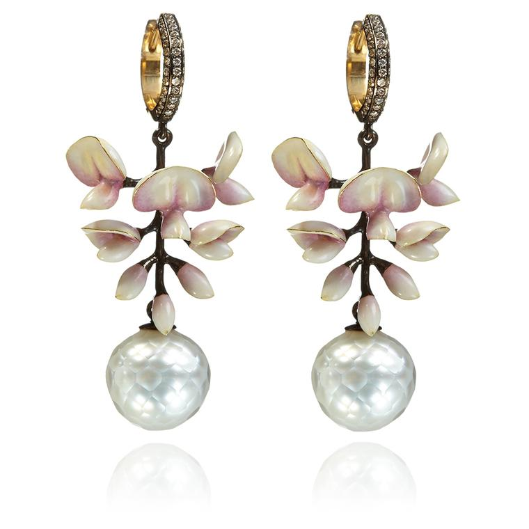 Ilgiz for Annoushka Wisteria chandelier earrings in yellow gold with diamonds and cultured and Tahitian pearls (£23,400).