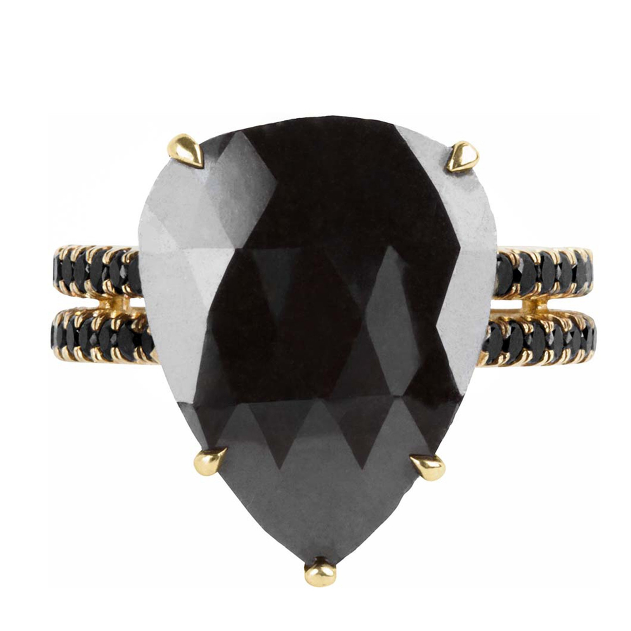 Joanne Fiske's jewellery line Thirteen31 only features black diamonds, such as this 7ct. pear-shaped black diamond ring with a gold double-band set with pavé black diamonds.