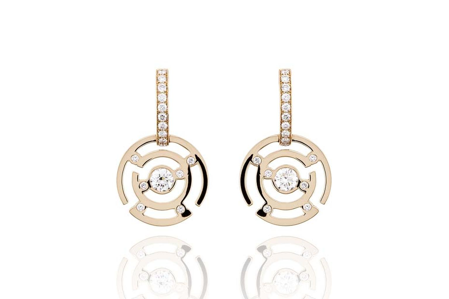 Boodles Maze collection diamond drop earrings in rose gold.