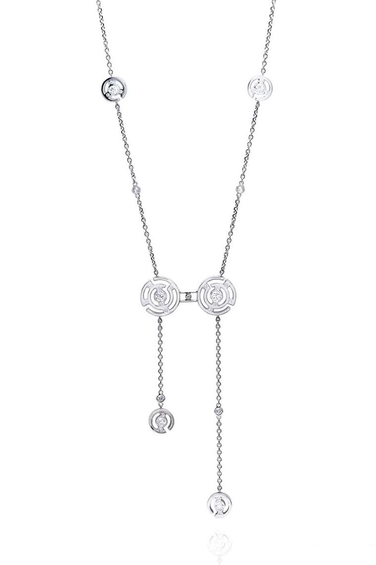 Boodles Maze collection diamond necklace in white gold.