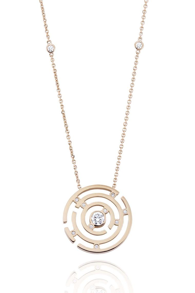 Boodles Maze collection pendant in rose gold.