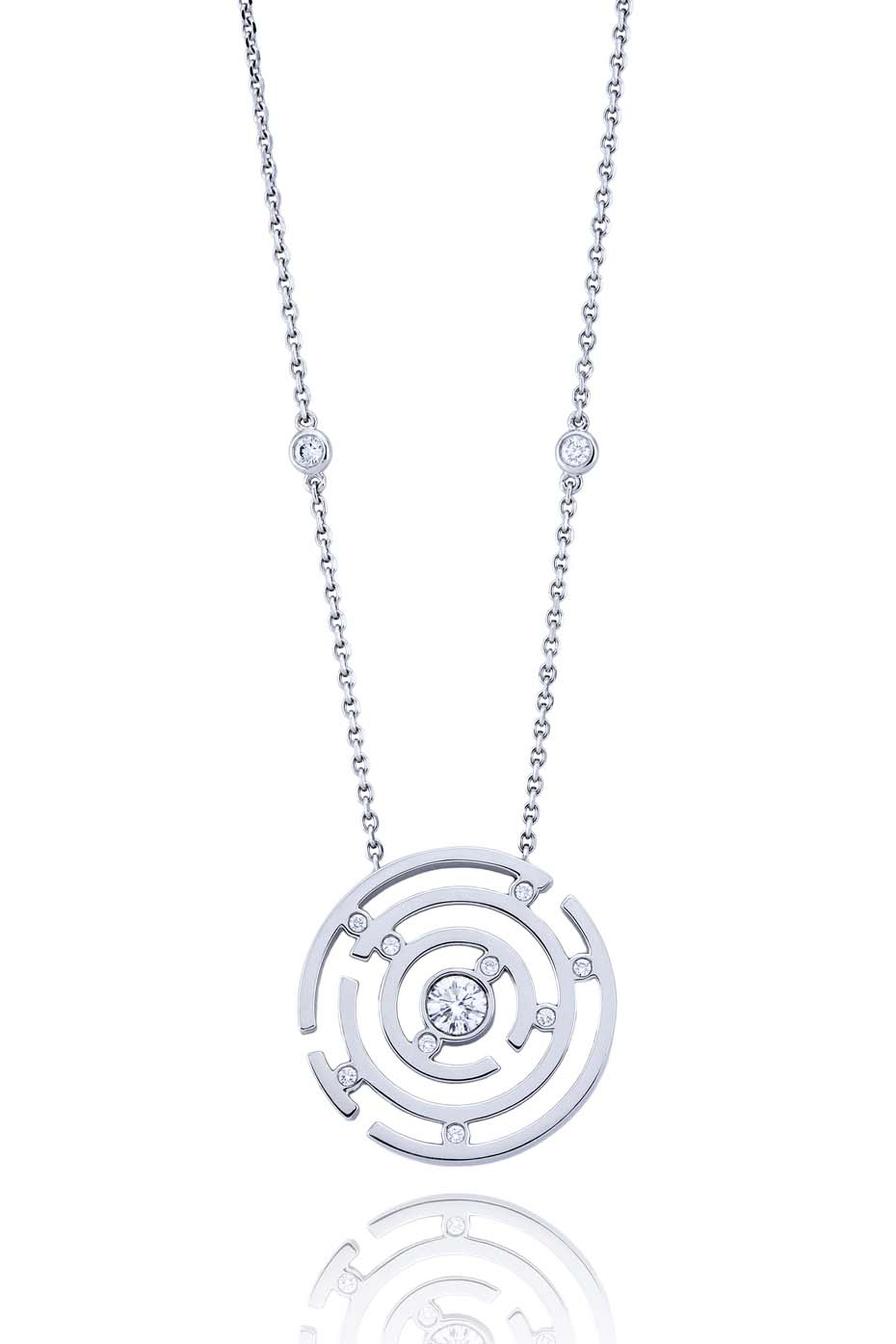 Boodles Maze collection provides a bird's-eye view of the maze such as with the Maze diamond pendant in white gold.