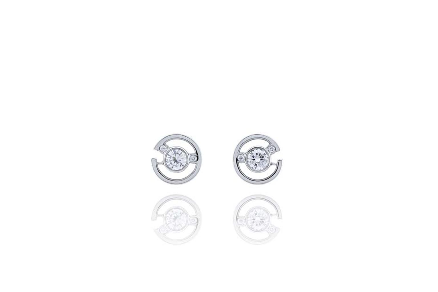 Boodles Maze collection diamond stud earrings in white gold.