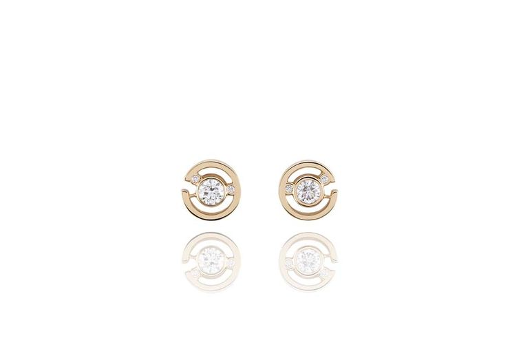 Boodles Maze collection diamond stud earrings in rose gold.