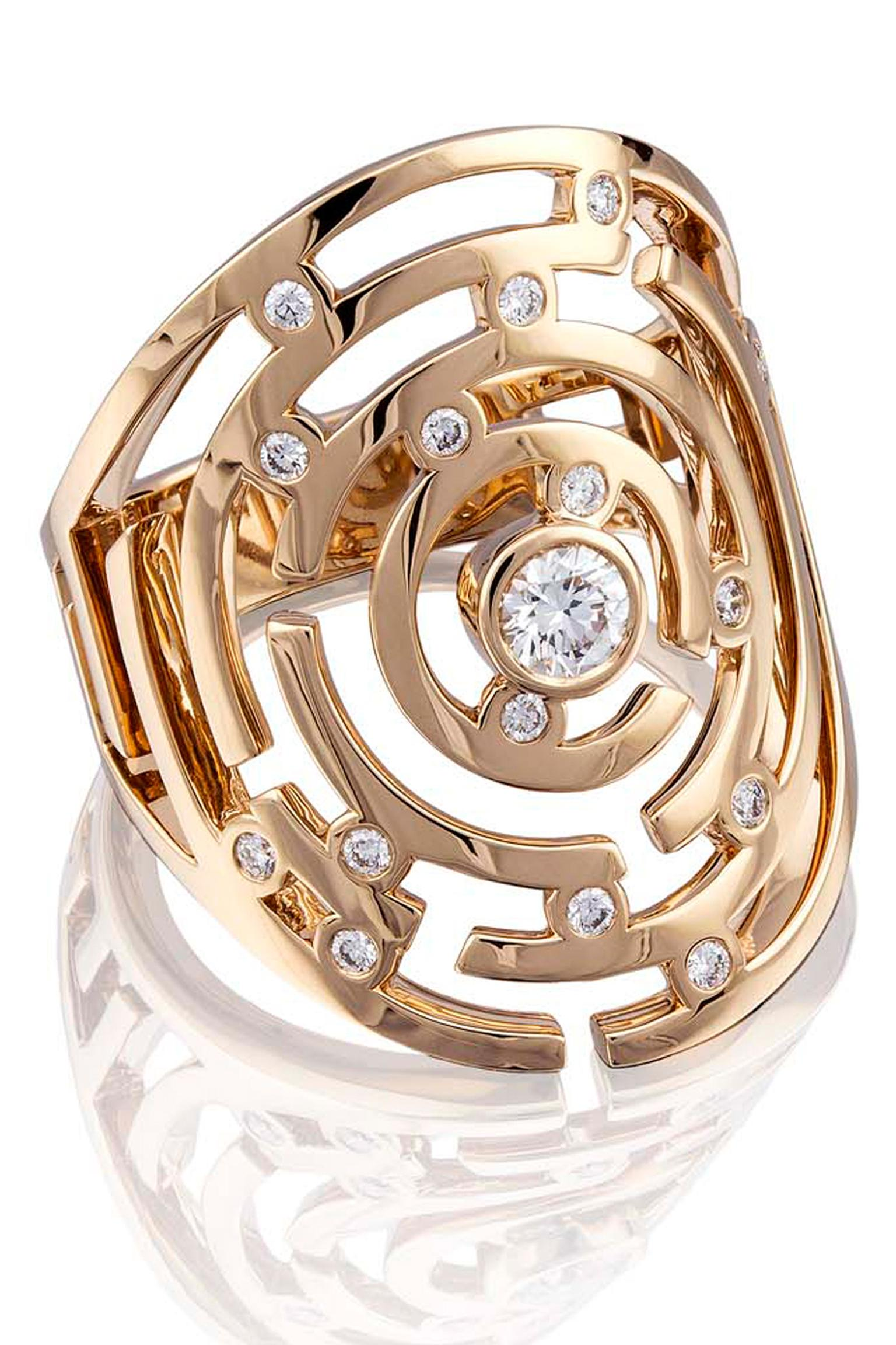 Boodles Maze collection large diamond ring in rose gold.
