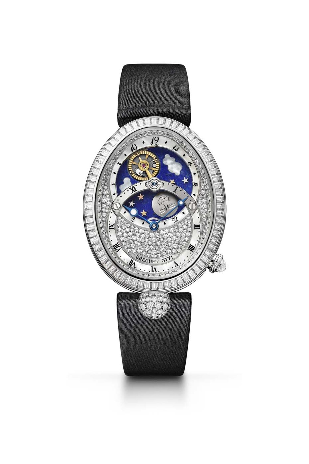 Breguet's Reine de Naples Jour/Nuit diamond watch features two overlapping dials covered in an array of diamonds.
