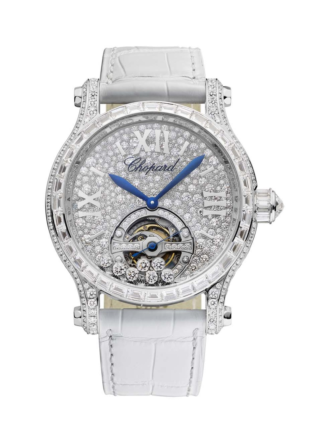 Chopard's Happy Sport Tourbillon Joaillerie watch is a glamorous take on the Happy Sport. Housing an in-house L.U.C manual-winding movement with the Poinçon de Genève quality hallmark, the tourbillon spins gracefully with its very own set of diamonds.