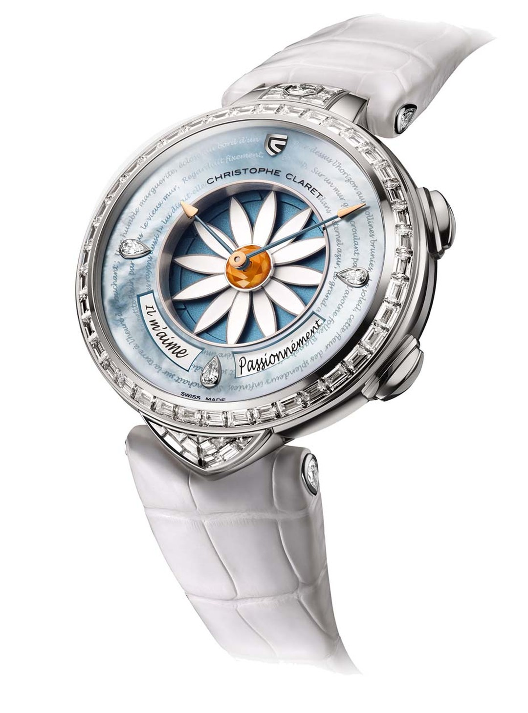 Christophe Claret's Margot watch allows the wearer to gauge the feelings of her beau by playing a game of romantic roulette. By activating a pusher, a petal - sometimes two - disappears under the dial and the answer to your love query appears in a window