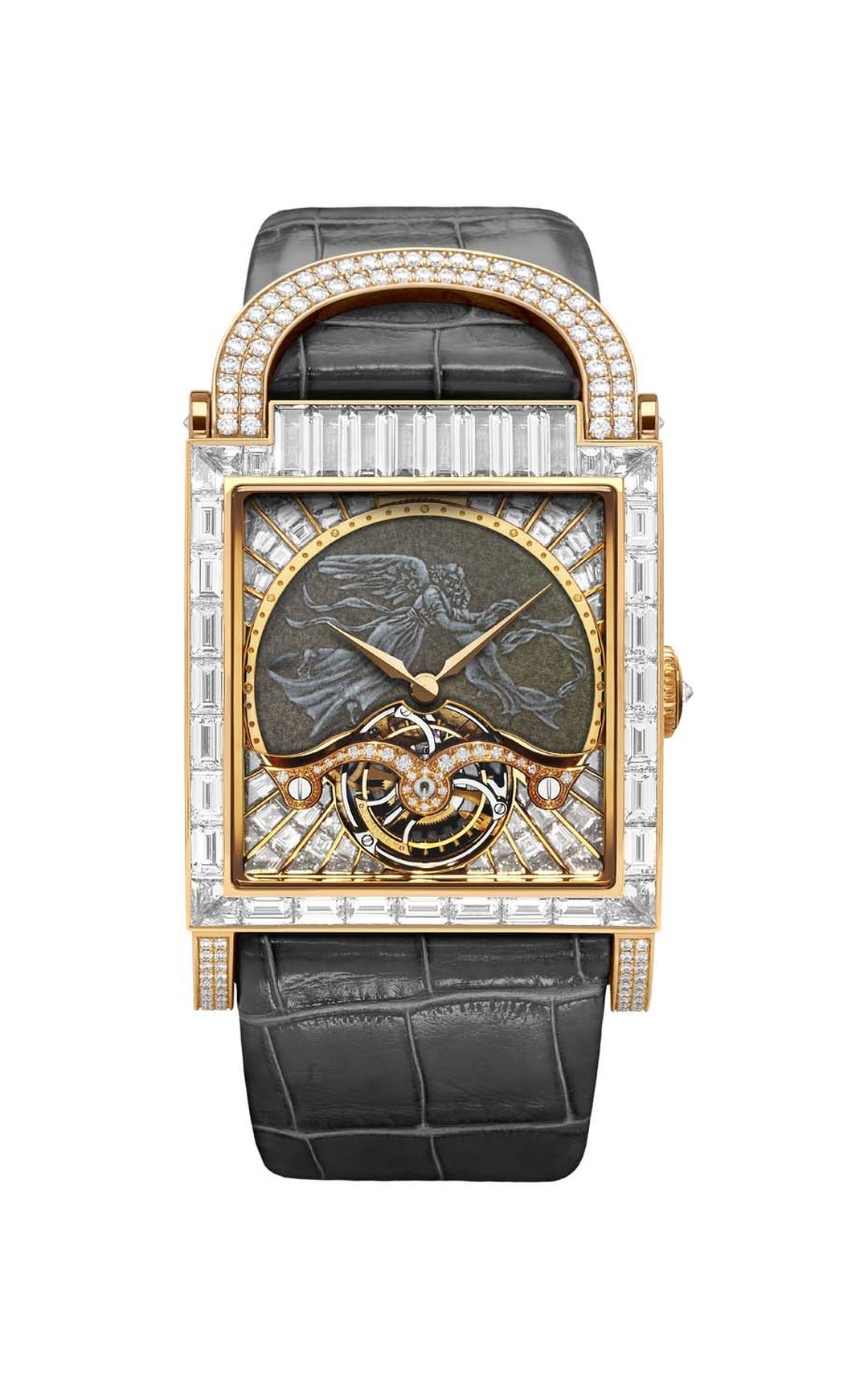 DeLaneau's Angel watch features a grand feu enamel dial depicting an angel, framed by large baguette-cut diamonds. Inside the red gold case is a manual-winding movement that animates the hours, minutes and elegant tourbillon at 6 o'clock.