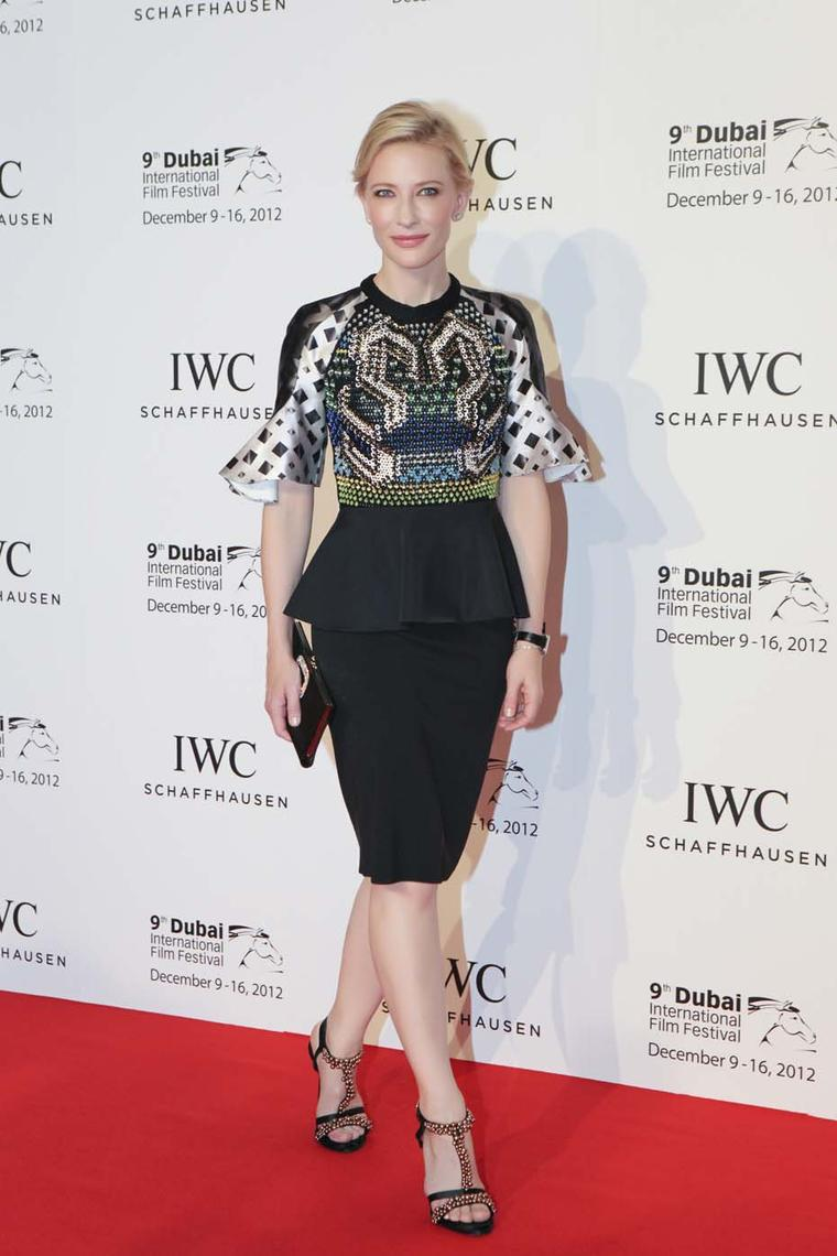 During the Dubai International Film Festival, Academy Award winner Cate Blanchett presented the prestigious IWC Gulf Filmmakers Award on December 7, 2013. Image by: IWC/David M. Benett.