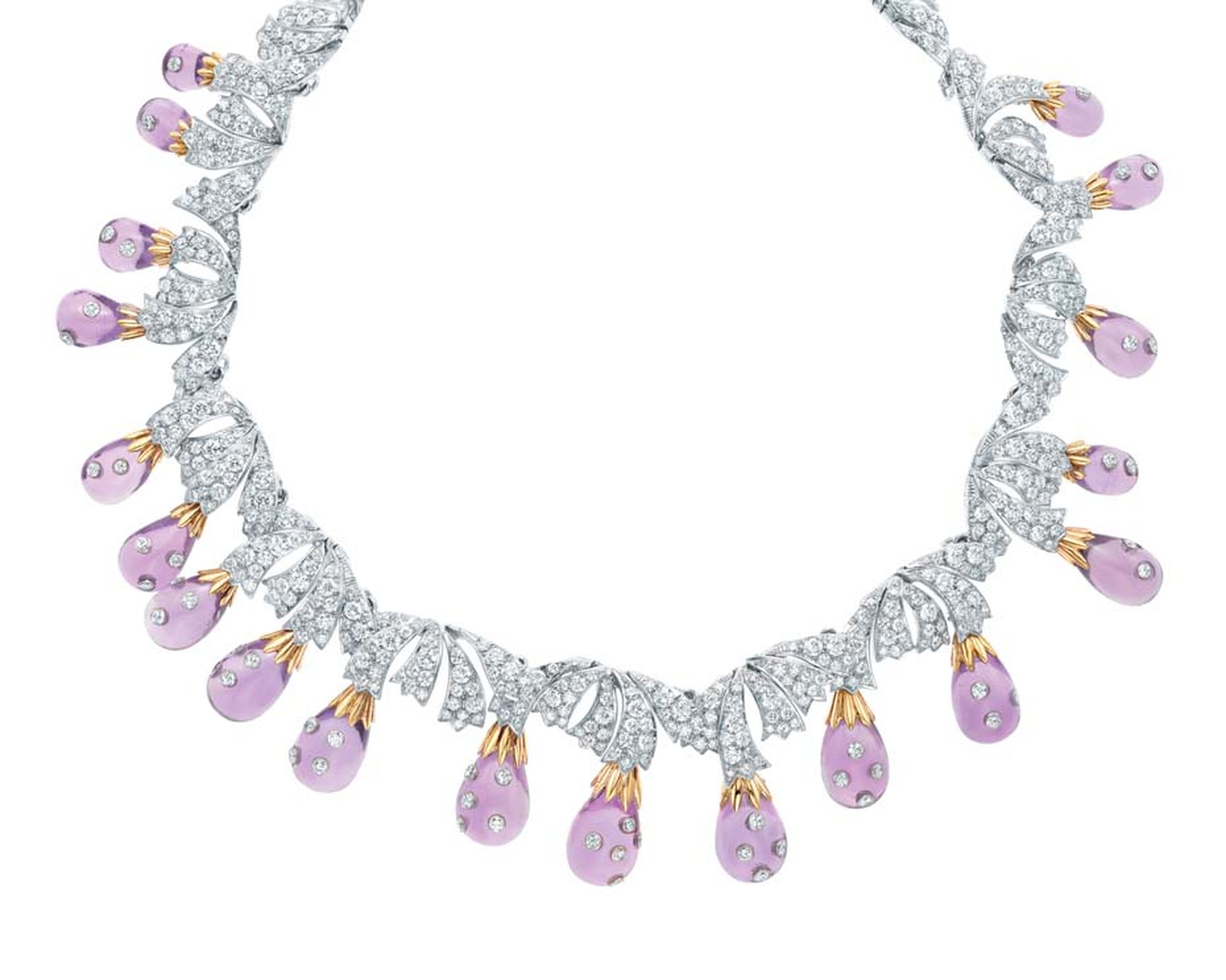 Jean Schlumberger for Tiffany & Co. gold and platinum necklace with diamonds set into amethysts.
