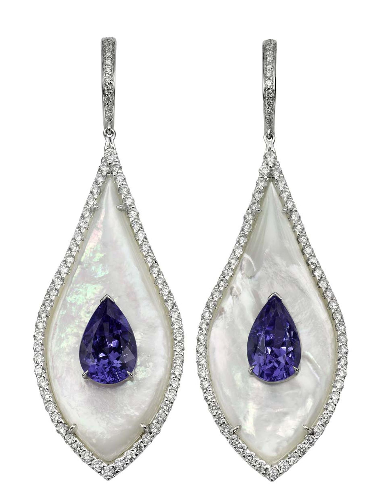 Bogh-Art earrings featuring inlaid pear-shaped tanzanites set into milky white mother of pearl.