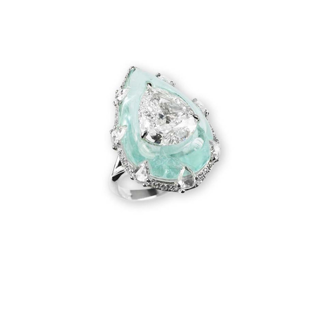 Bogh-Art white gold ring with a 3ct pear-shaped diamond inlaid into a light green Paraiba tourmaline.