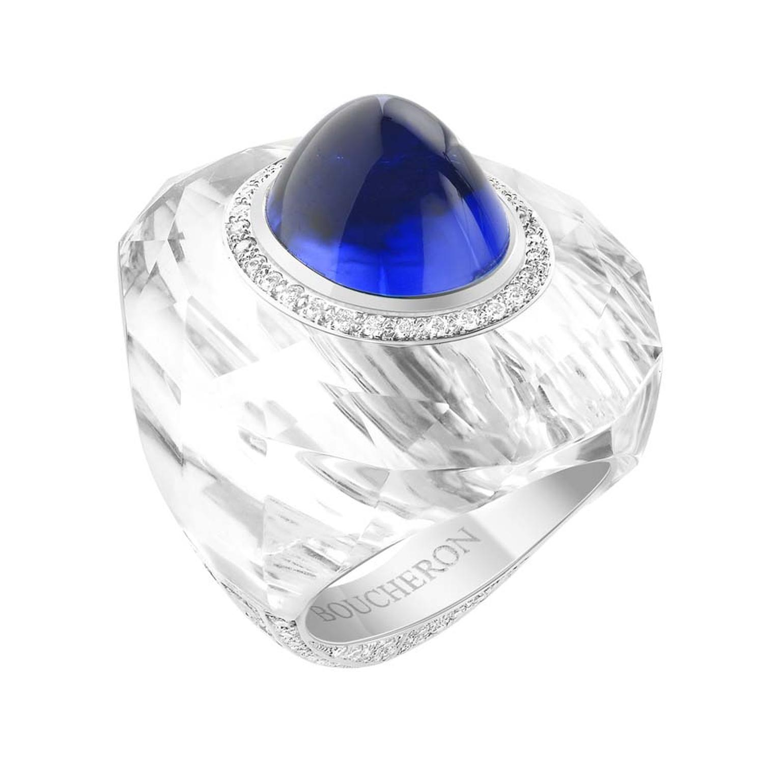 Boucheron's Trésor de Perse ring, created for the Biennale des Antiquaires 2014, features a historic 16ct cabochon sapphire set into carved rock crystal with chalcedonies and diamonds.