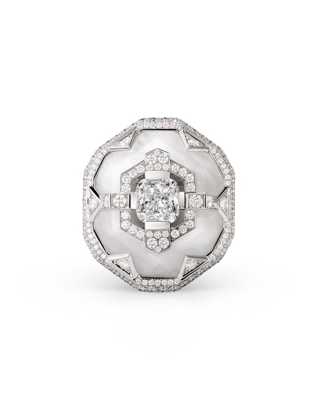 Chaumet's Lumieres d'Eau ring features a cushion-cut diamond sitting on top rock crystal, surrounded by brilliant-cut and troidia-cut diamonds.