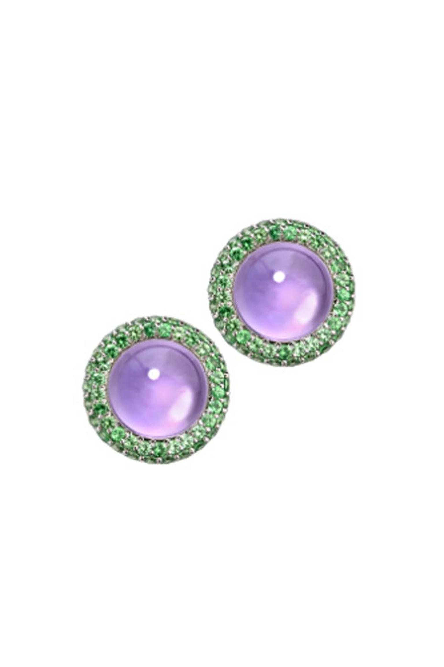 Elena Carrera Fusion collection earrings in rose gold with central amethyst gemstones and interchangeable green tsavorite jackets.